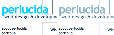 Screen shot of the 2003 perlucida.com services page
